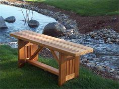 Simple backless cedar garden bench