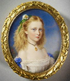 """For (and too) Lovely watercolor miniature portrait of Queen Victoria's five-year-old granddaughter. """"Princess Victoria of Hesse, later Marchioness of Milford Haven"""" by Reginald Easton, The Royal Collection. Queen Victoria Family, Queen Victoria Prince Albert, Princess Victoria, Milford Haven, Miniature Portraits, Miniature Paintings, Royal Collection Trust, Princess Alice, Grand Duke"""
