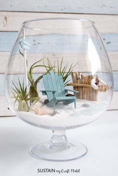 DIY Beachy Air Plant Mini Garden Terrarium – Sustain My Craft Habit - The Cutest DIY Fairy Garden! Learn How To Make A Beach Mini Garden Terrarium Imágenes efectivas que - Seashell Crafts, Beach Crafts, Diy And Crafts, Beach Themed Crafts, Cork Crafts, Upcycled Crafts, Homemade Crafts, Wooden Crafts, Bottle Crafts