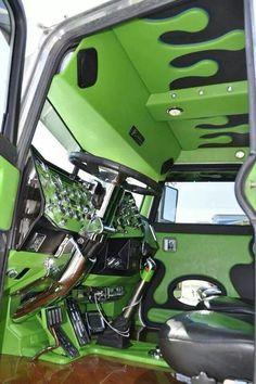 COOOOOOOOL. #trucking #meangreen #interiors