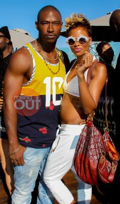 Sexy couple sighting: Kevin McCall and Eva Pigford at BET Awards Weekend pool party by Joi Pearson for Rolling Out