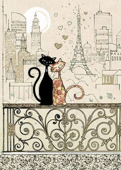 Romantic Cats - Bug Art greeting card