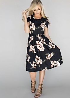 Get $5 off any purchase at shopjessakae.com with code ClaireLindsey5  Blooming Black Midi Dress