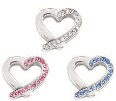 10mm Rhinestone Slider Charm Slanted Heart by PetsWithStyleBoutique.com for $3.25