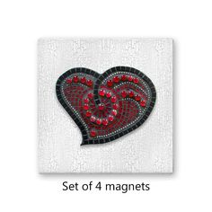 Red Mosaic Heart Magnet Set