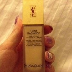 YSL teint radiance Newest foundation I just bought. So far so good. Goes on super thin and non greasy but still covers. Smells great and it contains 20 SPF.
