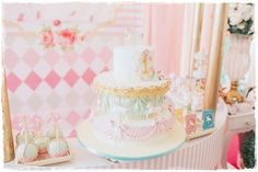 It's ushering in this gorgeous Pastel Carousel Birthday Party at Kara's Party Ideas Carousel Birthday Parties, Carousel Party, Circus Birthday, Circus Carnival Party, Bday Girl, Party Themes, Party Ideas, Pastel, Baby Shower