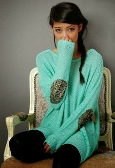 Sequin Elbow Patch Sweater, love it! But why is she covering her mouth?