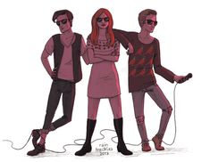 Karen and the Babes. <--- I love how the cord is wrapped around Matt's feet like you know he's going to fall and be his normal clumsy self.