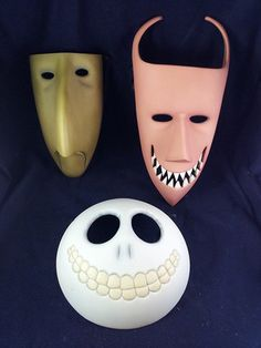 NIGHTMARE BEFORE CHRISTMAS LOCK SHOCK & BARREL DECORATIVE WALL MASKS - NECA