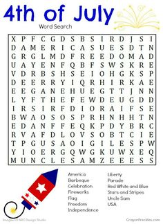 The 4th of July holiday sometimes means traveling.  Here's a free 4th of July crossword printable to keep your kids busy in the car - for a few minutes at least.