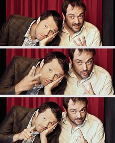 [gifset] Misha Collins and Mark Sheppard being dorks during a photoshoot for TV Guide Magazine.