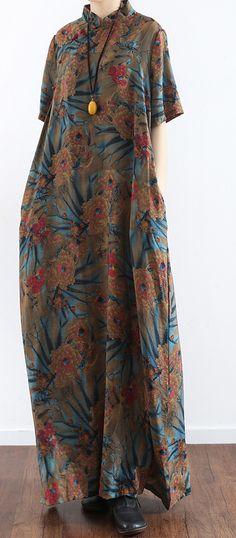 original prints casual linen dresses short sleeve maxi dress