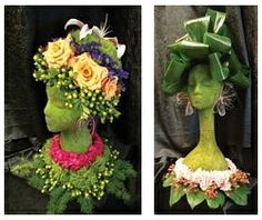 styrofoam head art | DIY Floral Centerpieces made from styrofoam mannequin heads available ...