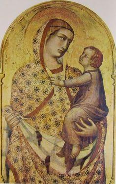 """Polittico, cm. 298 x 309, Santa Maria della Pieve, Arezzo-Madonna col Bambino """" di Pietro Lorenzetti-"""