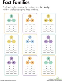 Worksheets: Math Fact: Relationship Between Addition & Subtraction