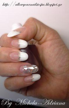 φυσική ενίσχυση ημιμόνιμο γαλλικό, nai art gel polish, glitter nail art, Christmas design.