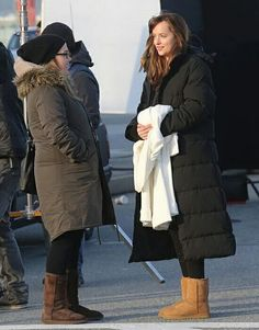 Dakota on the set of 50 shades of grey