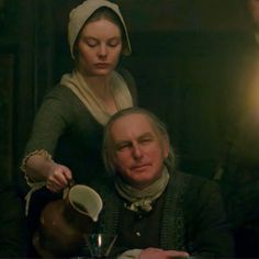 """Laoghaire (Nell Hudson) and Colum MacKenzie (Gary Lewis) in Episode 208 """"The Fox's Lair"""" of Outlander Season Two on Starz via https://outlander-online.com/2016/05/28/1800-uhq-1080p-screencaps-of-episode-2x08-of-outlander-the-foxs-lair/"""