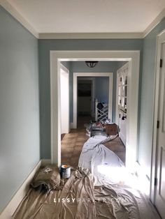 Doesn't everyone decide to paint the entry hall just before Christmas? Out with the neutral tan—in with the Palladian Blue from Benjamin Moore. I love this shade of blue &… Interior Paint Colors For Living Room, Dining Room Paint Colors, Favorite Paint Colors, Bedroom Paint Colors, Paint Colors For Home, House Colors, Interior Colors, Paint Colours, Palladian Blue Benjamin Moore