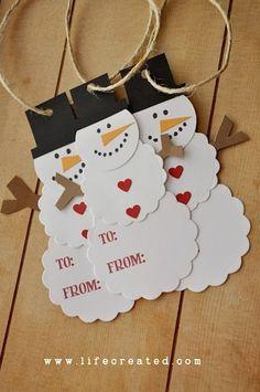 diy snowman lables | snowman diy craft | Snowman Tags - Popular DIY & Crafts ... | Christm ...