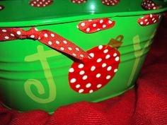 Bucket...or idea for a painting.....personalize the ornament with the family name!