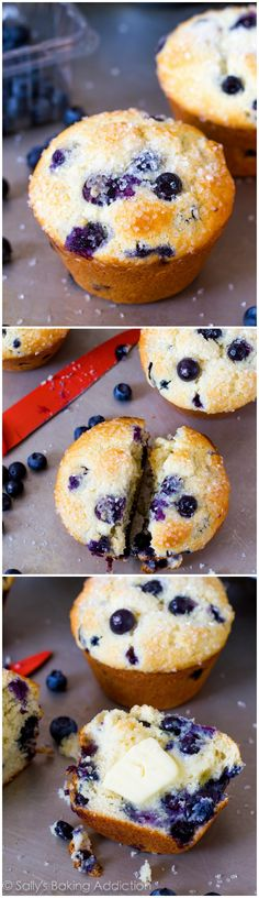 Big, bakery style Blueberry Muffins. My best-ever blueberry muffin recipe is easy to make! @Sally [Sally's Baking Addiction]