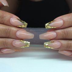 Varm camouflage med guldflakes i v-form