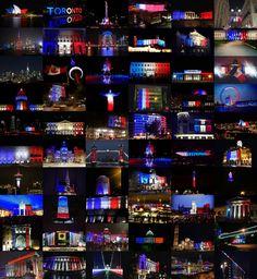 SOURCE TUMBLR.COM.........Le One World Trade Center, la mairie de San Francisco ou encore la CN Tower de Toronto: plusieurs monuments ont décidé, après les attentats meurtriers perpétrés à Paris, de s'illuminer aux couleurs de la France..........