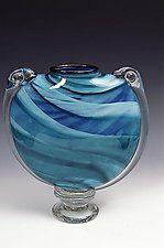 """Blue-Green M&M Vase by Mark Rosenbaum (Art Glass Vase) (13"""" x 12.5"""")"""