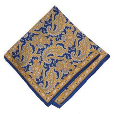 Robert Talbott Blue And Gold Paisley Silk Pocket Square