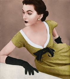Colorized picture of Dovima  photographed by John Rawlings, 1952.