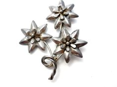 Flower Brooch, Sterling Silver, Floral Spray Pin, Fashion Jewelry, Vintage Lapel Pins, Hair Accessory, Sash Ornament, Vintage Pin  Sterling
