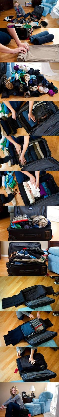 Packing clothing, how to pack a large amount in a small space.