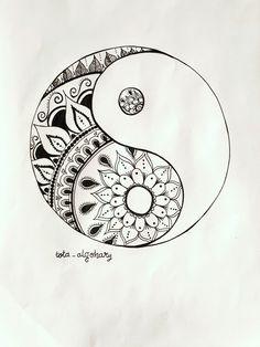 Tattoo music mandala sacred geometry 30 Ideas - tekeningen m Mandala Art, Mandalas Painting, Mandalas Drawing, Mandala Tattoo, Mandala Design, Lotus Mandala, Arte Yin Yang, Yin Yang Art, Music Tattoos