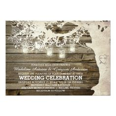 Shop Mason Jar String Light Bridal Shower Barn Wood Invitation created by ModernMatrimony. Mason Jar Wedding Invitations, Rustic Bridal Shower Invitations, Country Wedding Invitations, Bridal Shower Rustic, Rustic Barn, Barn Wood, Outdoor Bridal Showers, Wood Invitation, Invites