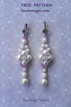 Free pattern for beaded wedding earrings Kyoto with pearls Beaded Earrings Patterns, Beading Patterns Free, Beading Tutorials, Jewelry Patterns, Free Pattern, Jewelry Ideas, Weaving Patterns, Bead Patterns, Knitting Patterns
