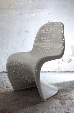 """White lace was all over Paris Fashion week Spring 2015. Love the translation in this Panton chair -white """"lace"""" by Ben Adams Architects. #ChairClassic"""