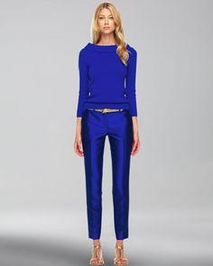 Cashmere Cuff-Neck Sweater & Samantha Slim Shantung Pants by Michael Kors at Neiman Marcus.