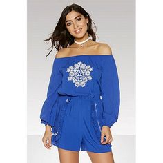 46056892be19 Quiz Blue And White Embroidered 3 4 Sleeve Playsuit Size UK 12 LF180 OO 16