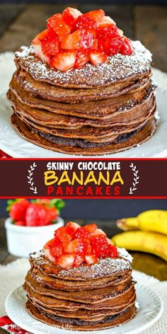 Skinny Chocolate Banana Oatmeal Pancakes - enjoy a healthy breakfast choice when you make these easy banana pancakes. Great recipe to make and freeze for busy mornings! #breakfast #pancakes #twoingredientpancakes #banana #healthy