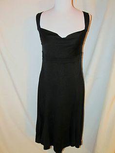 Sz M Maternity Black Dress Diane van Furstenberg Sleeveless Drape Neck Silk Mix