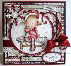 Joyful Tilda from Magnolia stamps.  Merry Little Christmas Collection