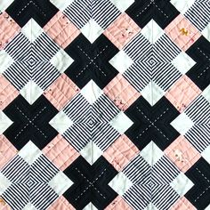 The Kris Kross quilt is a striking and modern design that's fun to sew together. Use a striped fabric and an interesting optical illusion forms!
