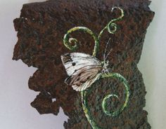Acrylic Painting Butterfly  Original on Rusted by HollyFerencze, $26.95