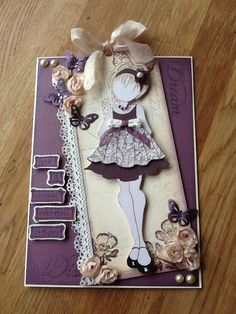 Julie nutting doll used to make birthday card.