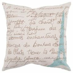 Cotton-linen pillow with a Parisian-inspired script motif.    Product: PillowConstruction Material: Cotton and linen coverColor: Ivory, blue and umberFeatures: Insert includedCleaning and Care: Blot stains