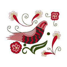 This design is from the Alfold or lowland area of Hungary. The colors in Alfold embroidery range from pink to red, beige to brown, pale green to avacado, with touches of black for accent. In keeping with the tradition of a very open and hand embroidered Chain Stitch Embroidery, Bird Embroidery, Learn Embroidery, Vintage Embroidery, Embroidery Stitches, Embroidery Patterns, Polish Embroidery, Stitch Head, Lazy Daisy Stitch