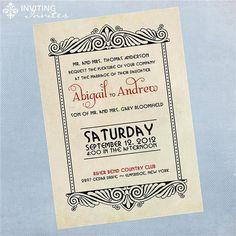 Art Deco Vintage Wedding Invitation  Printable by InvitingInvites, $15.00