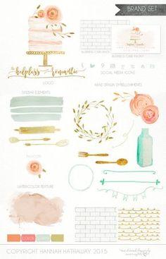 Business Identity Brand Set: Pre Made Wedding Cake Baking Watercolor Painted Logo (Item #140BK)